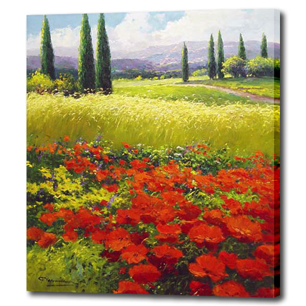 Hot Beautiful Flower Field Oil Painting For Bedroom Wall Product