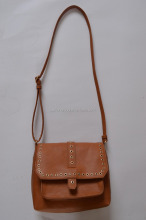 Eco-friendly pu crossbody/sling bag with corns metal ring,ladies pu bag with fixed long shoulder strap