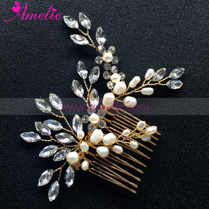 Delicate Skilled Engagement Hair Accessories Side Comb with Freshwater Pearl and Rhinestones to Match Ivory Wedding Dress