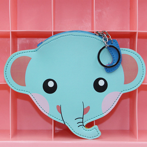 Blue elephant shaped cute keychain coin purse