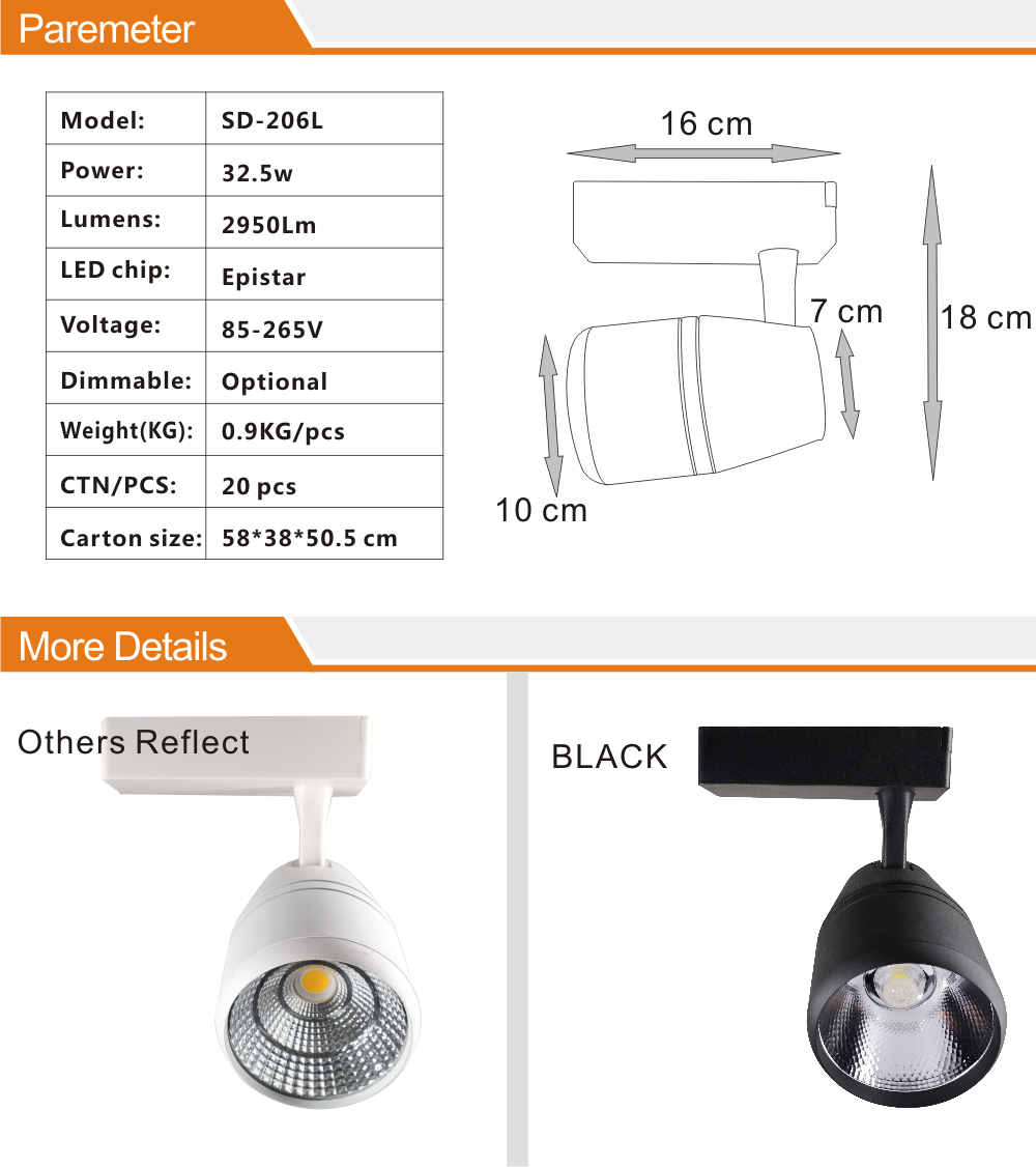 led track light 30w system dimmable led track spotlight