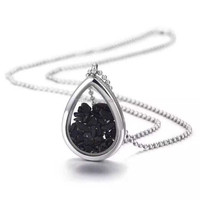 Unique Pear necklaces black onyx necklace trendy stainless steel necklace NSSN254