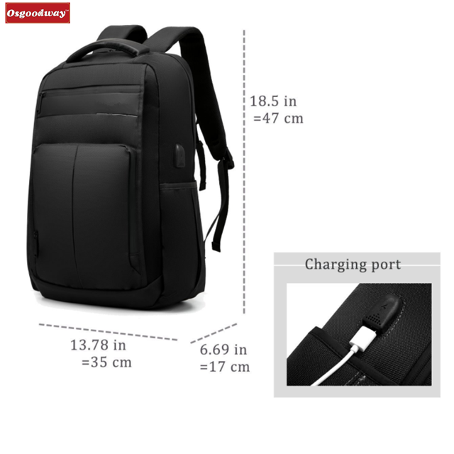 Osgoodway 15.6 In Water-Resistant Light-Weight Waterproof Laptop Bag Computer Backpack with USB Port
