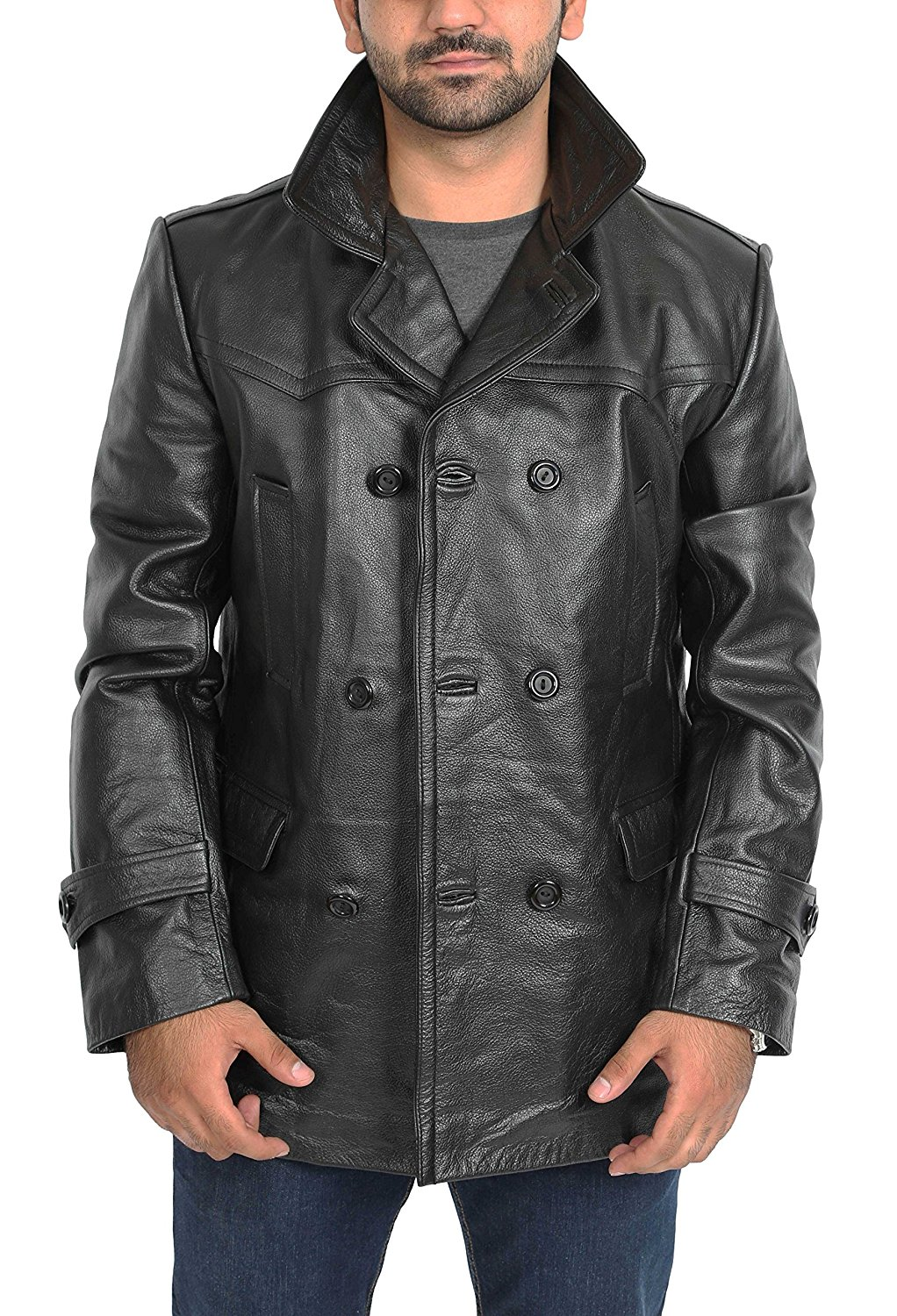 4d30e93ef06b1 Get Quotations · Mens Real Leather Double Breasted Reefer Peacoat Gents  Jacket Salcombe Black