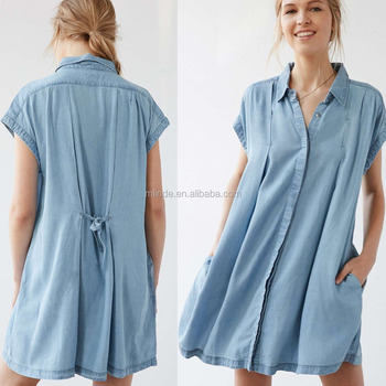 c11e6a62f33f Fashion Denim Dresses Women blue Simple vintage A-Line casual dress Tencel  Swingy chambray shirt