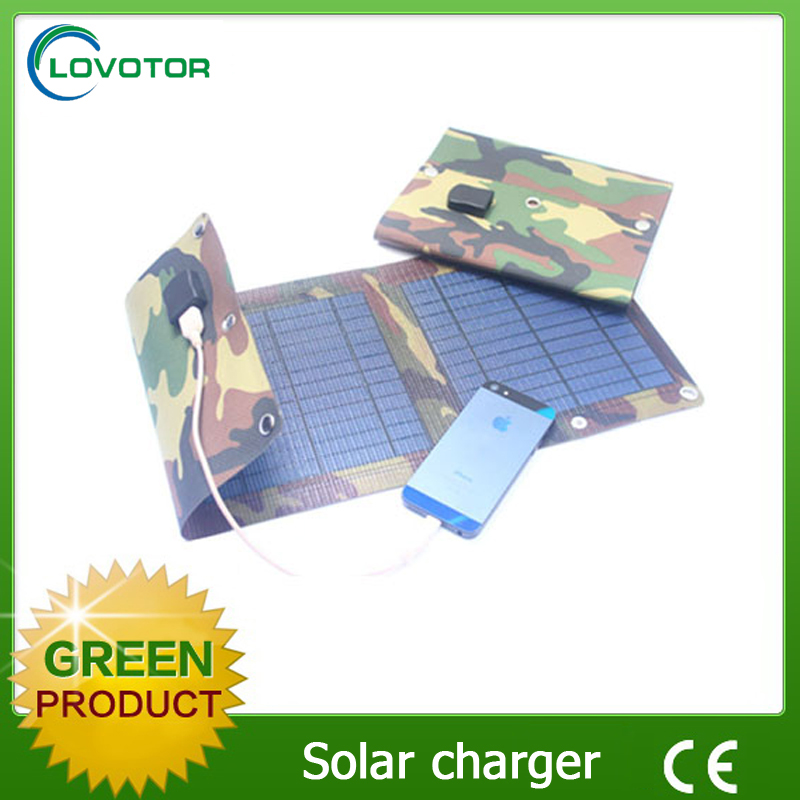 5V waterproof nylon portable cheap solar mobile phone charger with 7w solar panel