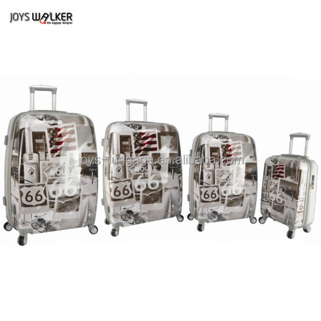 Newest abs/pc with charming printed 32 inch trolley luggage