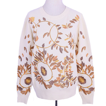 Customized Floral Jacquard Ladies Cloth Woolen Sweater For Ladies