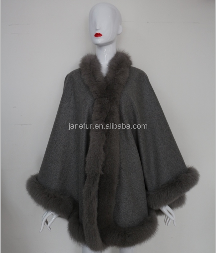 New Grace New Production cashmere cape with fox fur trim fur shawl for women winter