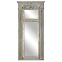 Distressed, weathered gray finish accented with antiqued gold leaf framed mirror for home decoration