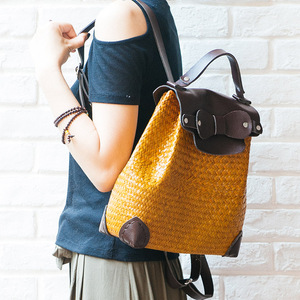 PU handle hand held straw backpack new products on the market messenger bag linen handbag