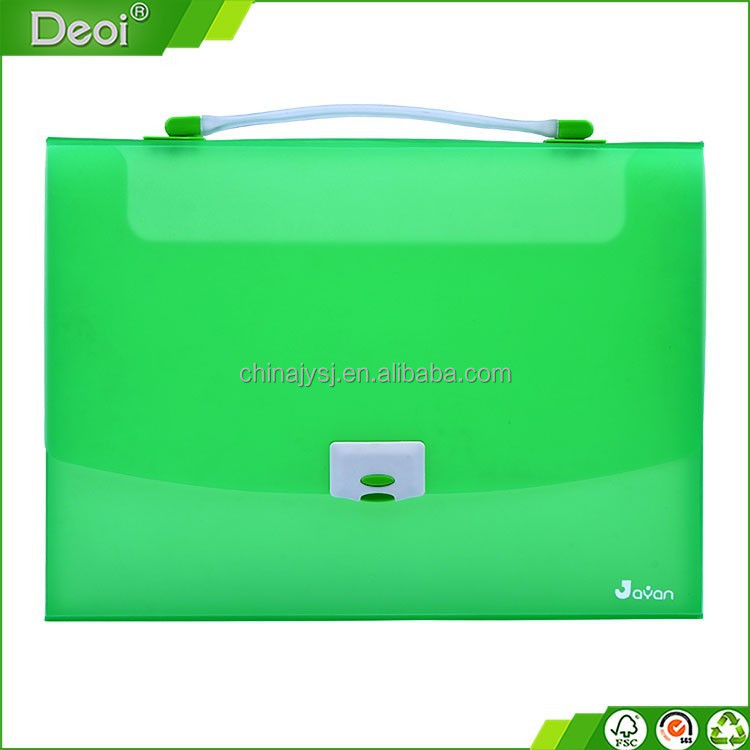 custom logo printing pp expanding office supplies file bag Polypropylene plastic file box with lock and handle