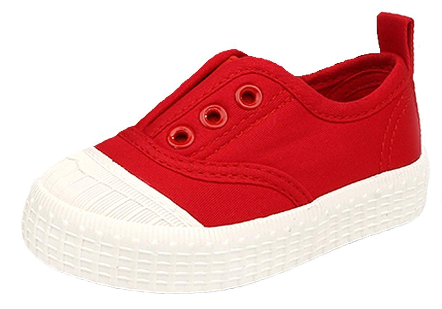 iDuoDuo Classic Kids Casual Solid Elastic Slip On Low Top Canvas Sneakers (Toddler/Little Kid)