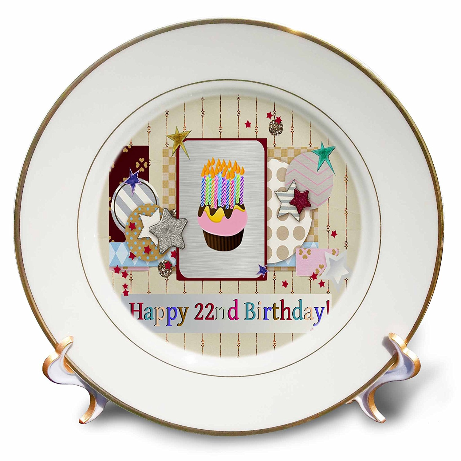 Beverly Turner Birthday Design - Collage of Stars, Cupcake, and Candle, Happy 22nd Birthday - 8 inch Porcelain Plate (cp_243654_1)
