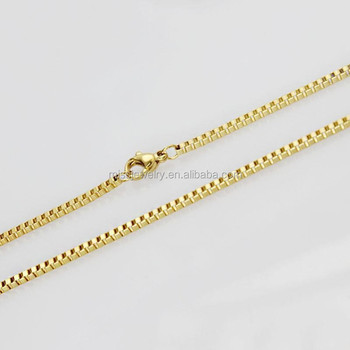 24K Gold Box Chain Necklace Jewelry View gold necklace Miss