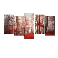 Red Falling Leaves Photo Canvas Wall Art Romantic Nature Scenery Canvas Printing for Home Decoration 5-Panel