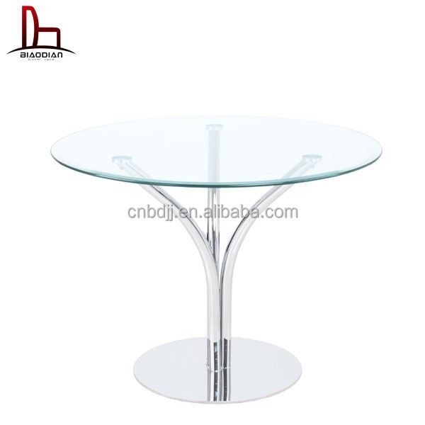 New Design home cafe tea hotel metal legs tempered round glass table