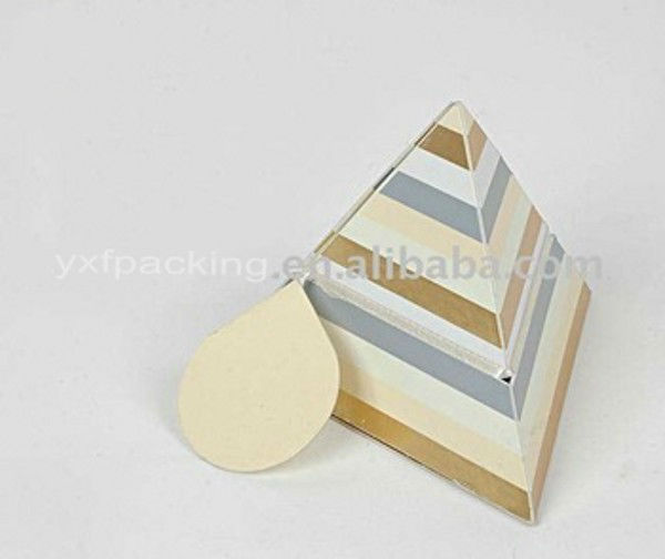 Pyramid shape paper folded box with stripe