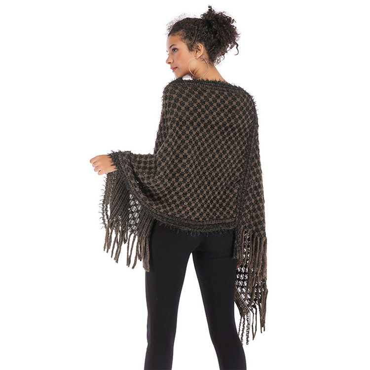 Custom Winter Irregular Batwing Sleeve Knitted Sweater Cloak Tassel Crochet Shawl For Woman Guangzhou