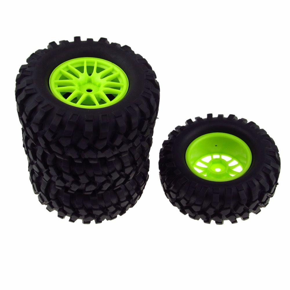 JIUWU 4x RC 1:10 Tires Gravel Rubber Double 7 Spoke Wheel Rim Green for Rock Crawler Cars