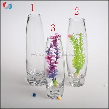 Wholesale Tall Clear Glass Bud Vase Oval Shaped Drinking Glass For