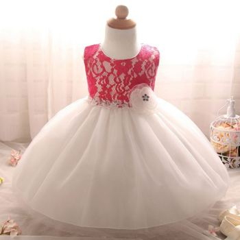 5ba11d762 Plain Baby Clothes 1 Year Angel Party Girls One Piece Flower Tulle ...
