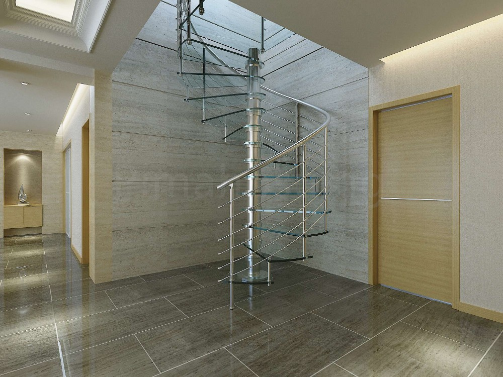 Curved Stair With Galvanized Steel Handrails / Prefabricated Stairs Outdoor  PR C11