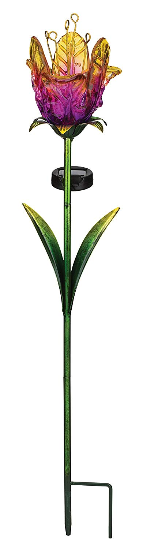 Regal Art & Gift 11620 Ruffled Tulip Stake Solar Light Garden Decor, Purple