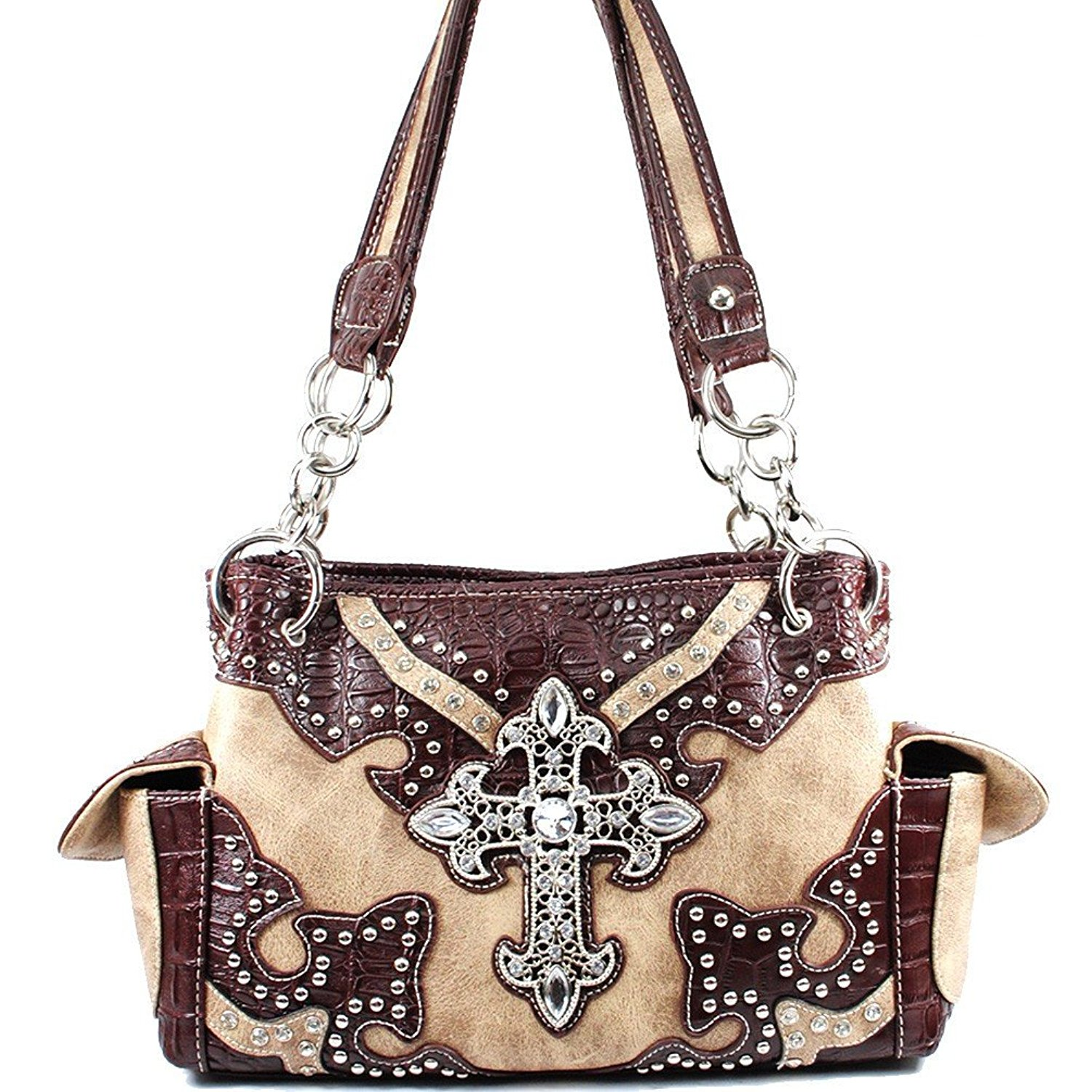 Get Quotations · Rhinestone Cross Concealed Carry Embroidered Shoulder Handbag  Purse in Multi Colors. f1643609fac42