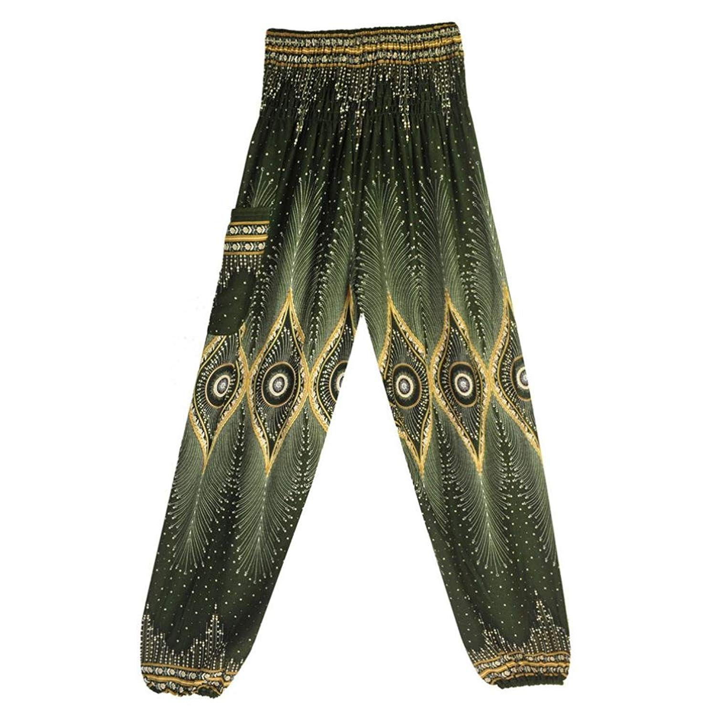 747766f2cbb50 Get Quotations · Fanteecy Harem Pants for Women Boho Printed Smocked Waist  Petite Gypsy Baggy Pants Peacock Hippy Yoga