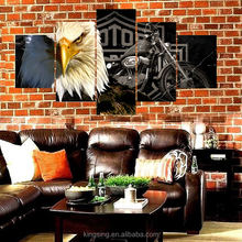 Factory direct sale multi-panel owl and motorcycle canvas oil painting on canvas prints for dinning room decor wholesale