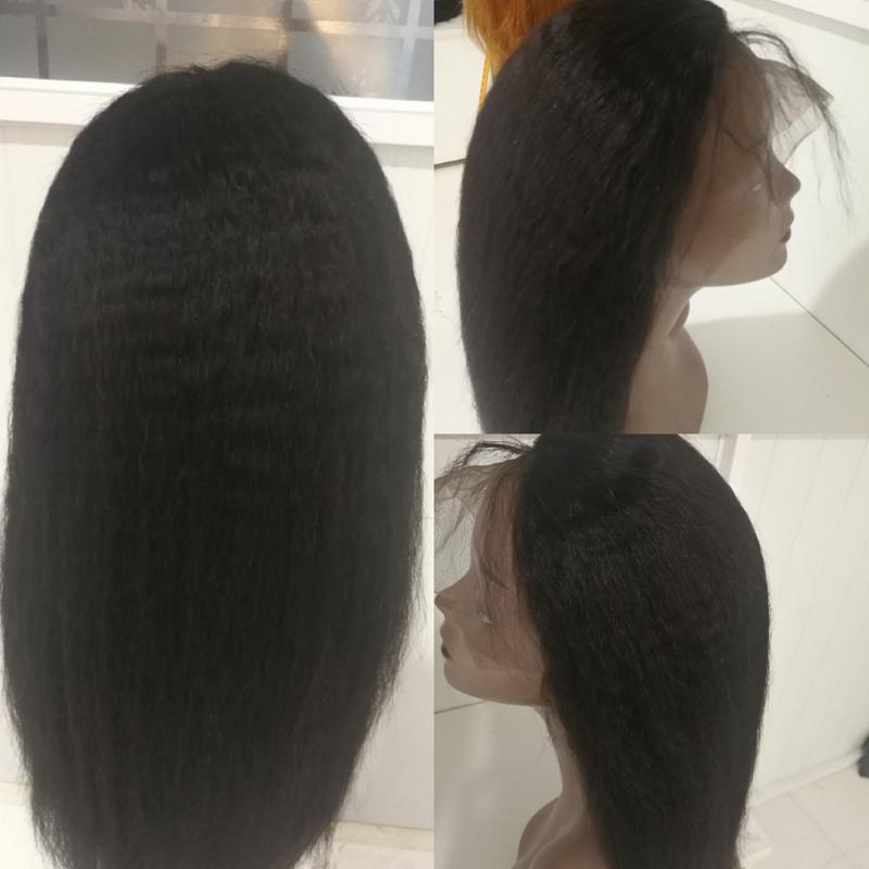ขายส่งผู้ขายบราซิล Virgin Kinky ตรงวิกผมลูกไม้ด้านหน้าด้านหน้า Hairline ธรรมชาติยาว Glueless Remy วิกผมกับ Bangs