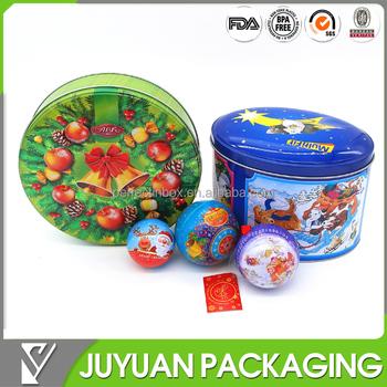 ball shaped decorative christmas metal gift tin box