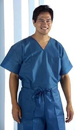 Medline Scrub Shirt Large Dark Blue 2 Pockets Short Sleeves Unisex