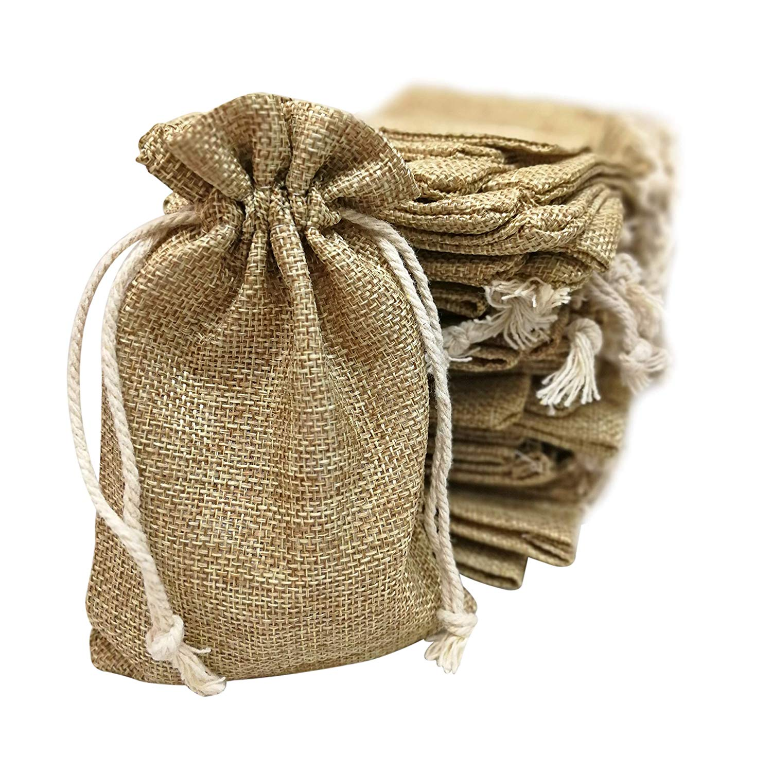 258c7033f Get Quotations · 50 Small Burlap Bags with Drawstring, 4x6 Inch Gift Bag  Bulk Pack - Wedding Party
