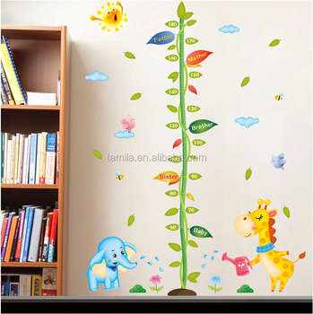 fashion kids height growth chart wall sticker/giraffe wall chart for