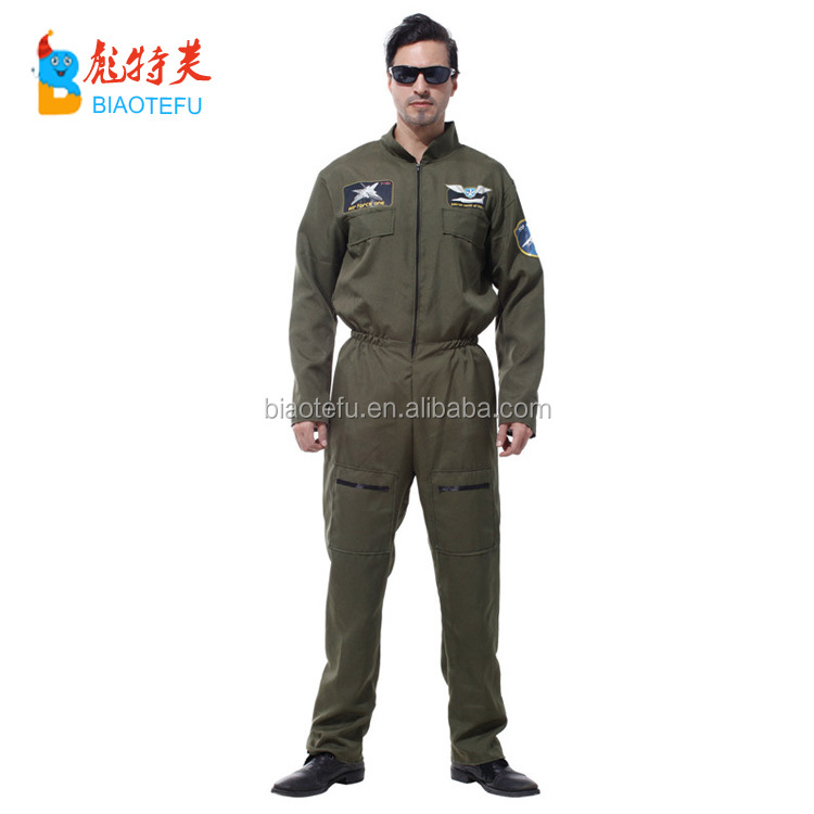 High quality carnival green man pilot cosplay costumes in stock party airline cosplay uniform costume for adult