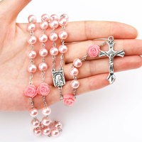N0806 Huilin low price Religious necklace Pink Imitation Pearl rosary beads necklace Catholic Jesus cross necklace