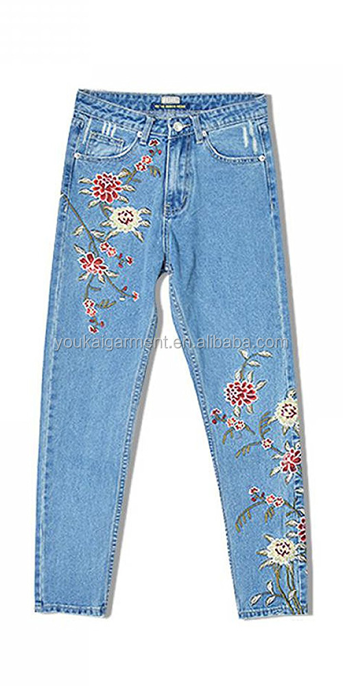 Women's Vintage Jeans Embroidery Designs Boyfriend Slim Denim Jeans Pant