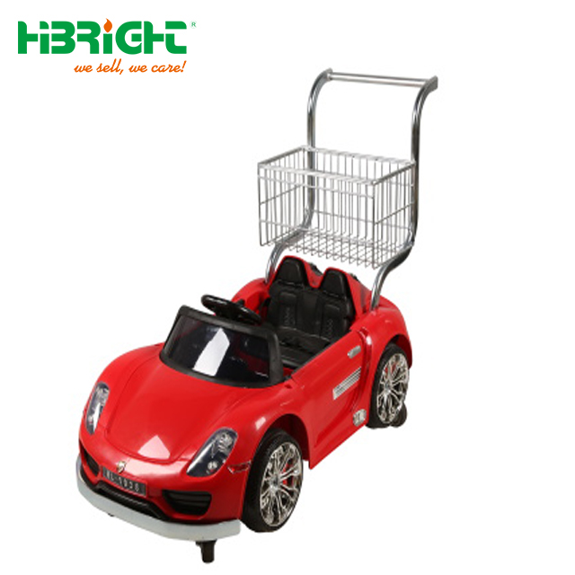 Shopping mall rentable kids baby shopping cart with a plastic toy car