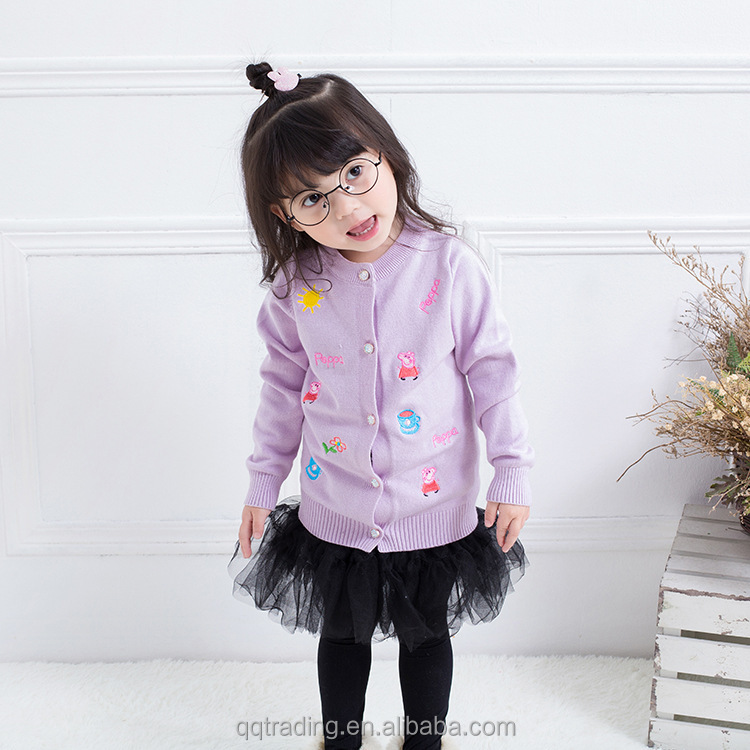 2T-7T Small and middle aged kids Cute Pig Peppa warm jacket fashion pure children sweatshirt jumper