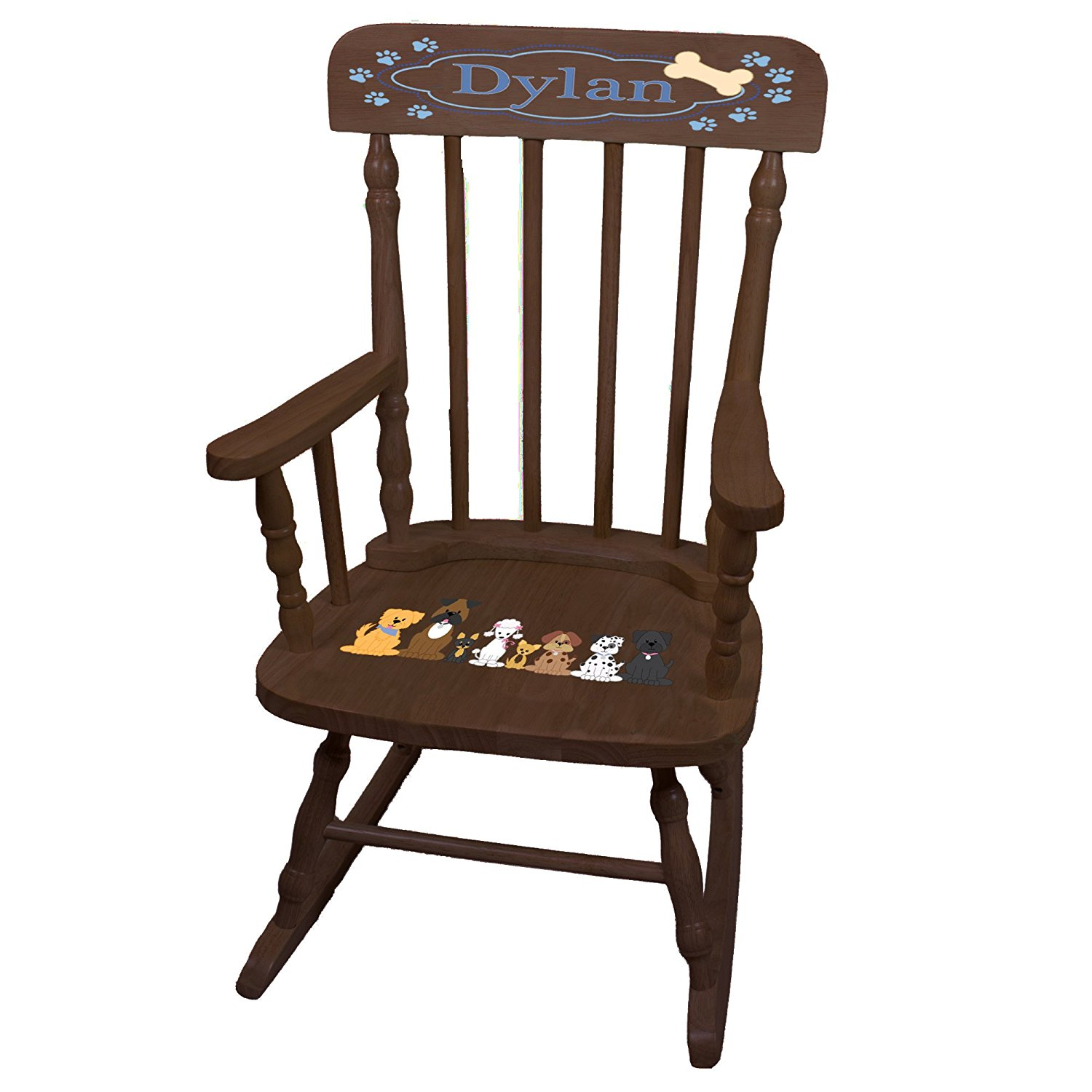 Personalized Blue Dogs Espresso Childrens Rocking Chair