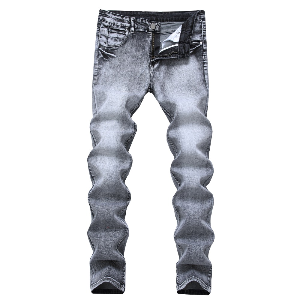 new design slim fit cotton stretch gray mens jeans