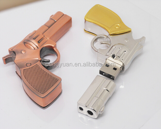Hot sale OEM make in china promotional gift metal gun USB flash memory