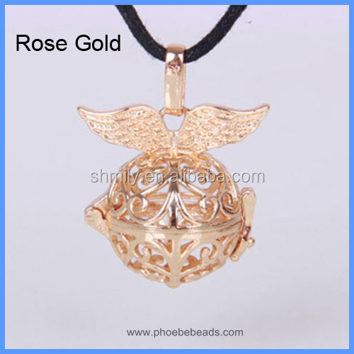 Angel Wings Cage Musical Sound Bell Ball Copper Hollow Chime Box Harmony Pregnancy Necklace Pendant BAC-M021