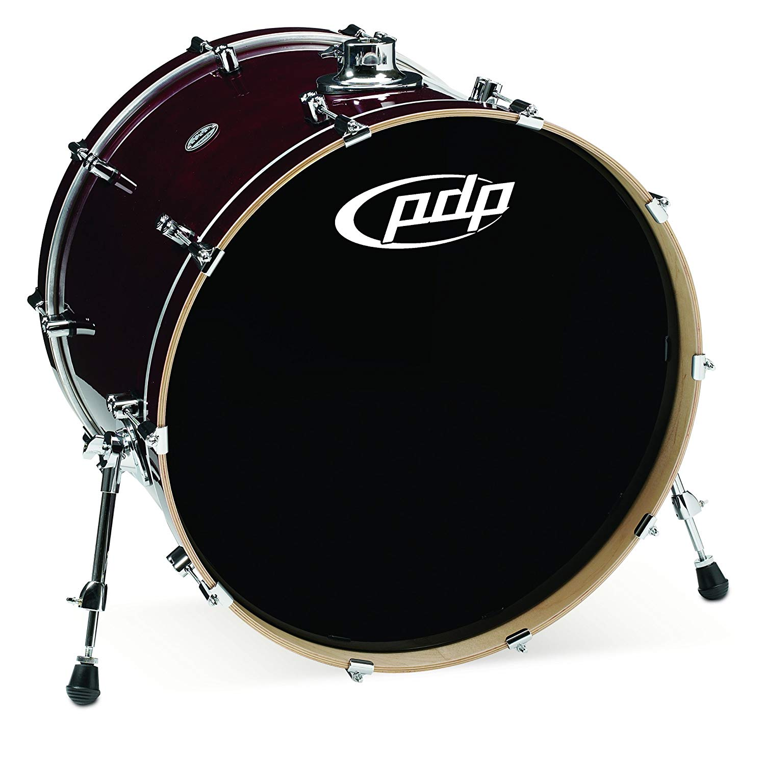 Pacific Drums PDCM1824KKTC 18 x 24 Inches Bass Drum with Chrome Hardware - Transparent Cherry