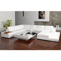 Wholesale u shape white chaise large sectional recliner leather sofa