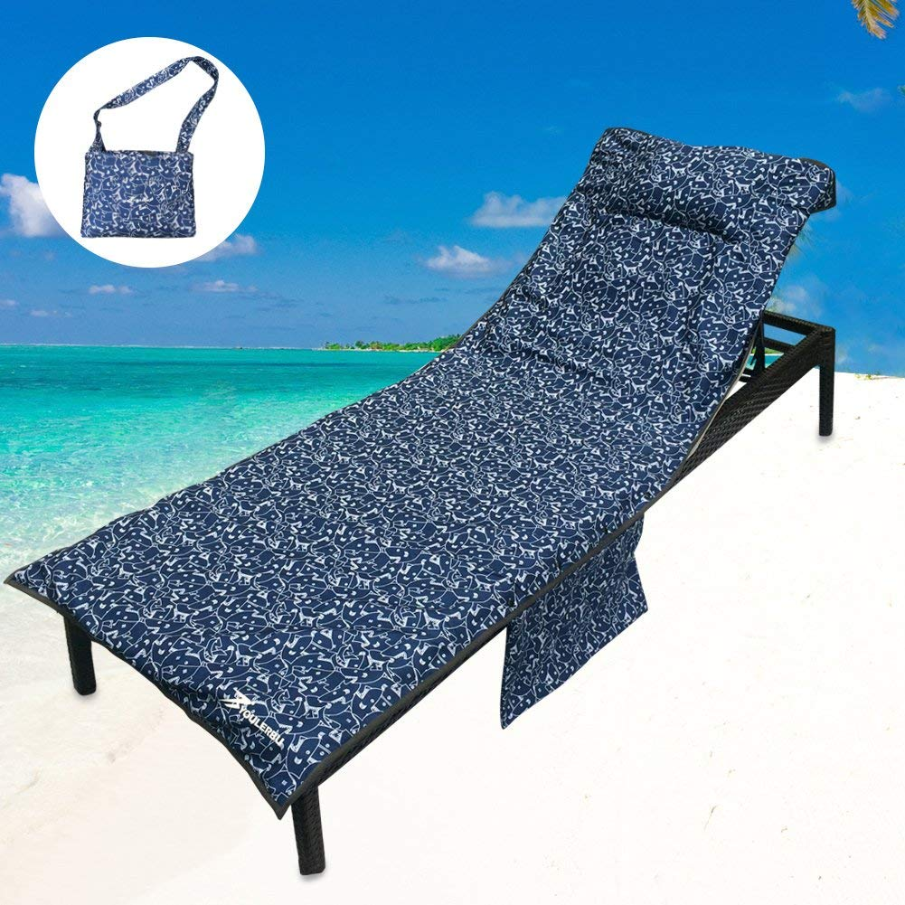 Get Quotations · YOULERBU Beach Chair Cover With Pillow Breathable Sponge  Thickened Pool Lounge Chair Towel Beach Towel With