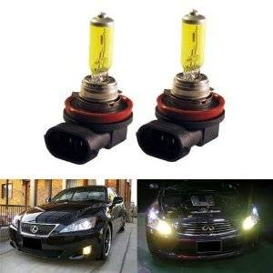 GOLDEN YELLOW 100w ONE PAIR HIGH QUALITY HALOGEN XENON GAS FILLED H11 FOG LIGHT BULBS for 06 07 Chevrolet Monte Carlo/ 08 09 Dodge Sprinter/ 07 08 09 10 Ford Edge/ 09 Ford Flex/ 05 06 07 08 09 Ford Focus/ 06 07 Ford Freestyle/