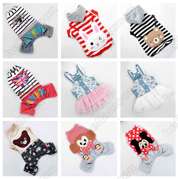 100% Cotton Striped Cute Puppy Clothes